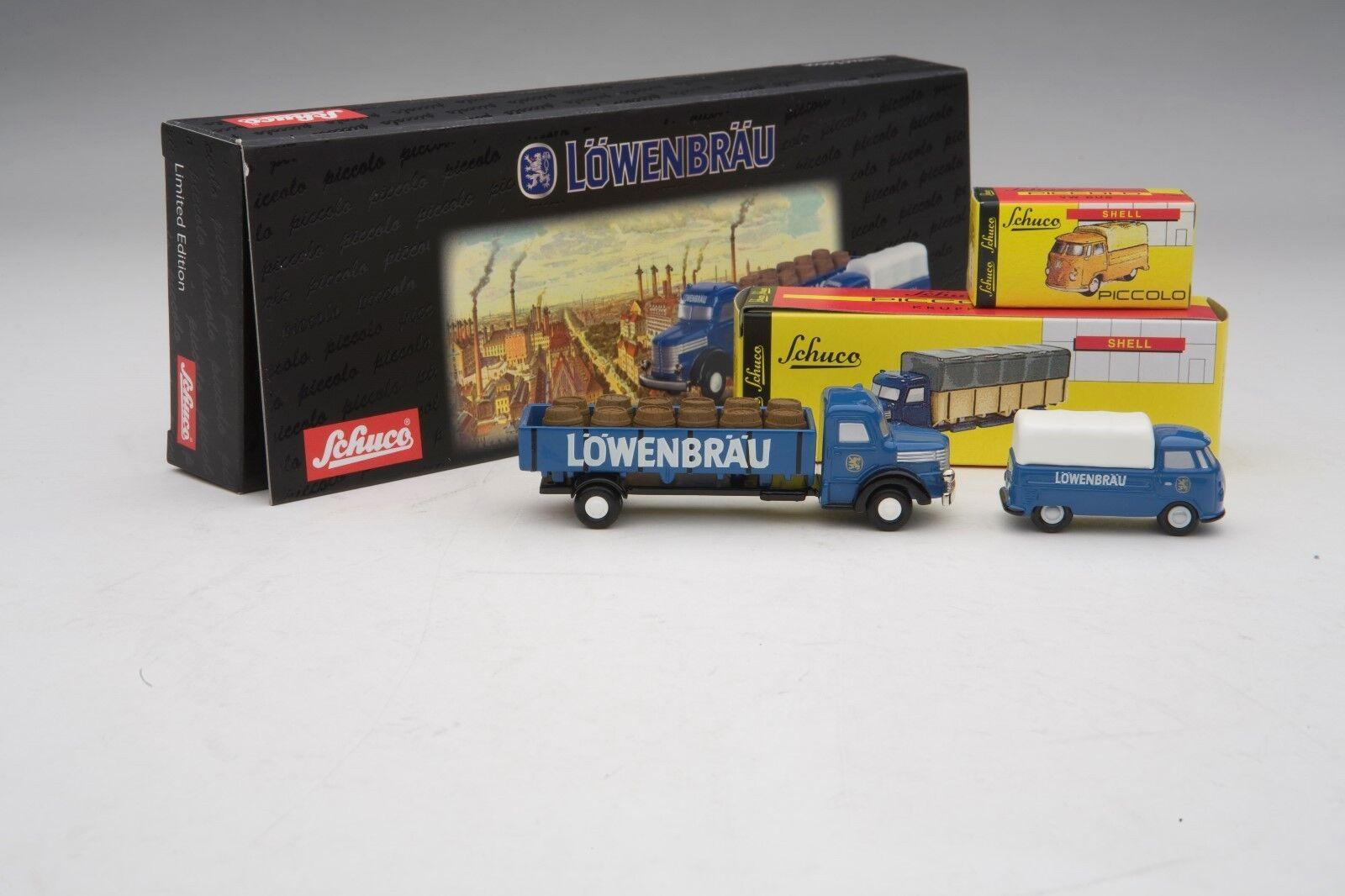 Schuco Piccolo VW T1 & Krupp  Lowenbrau Cerveza  entrega Conjunto de regalo  SHU05810
