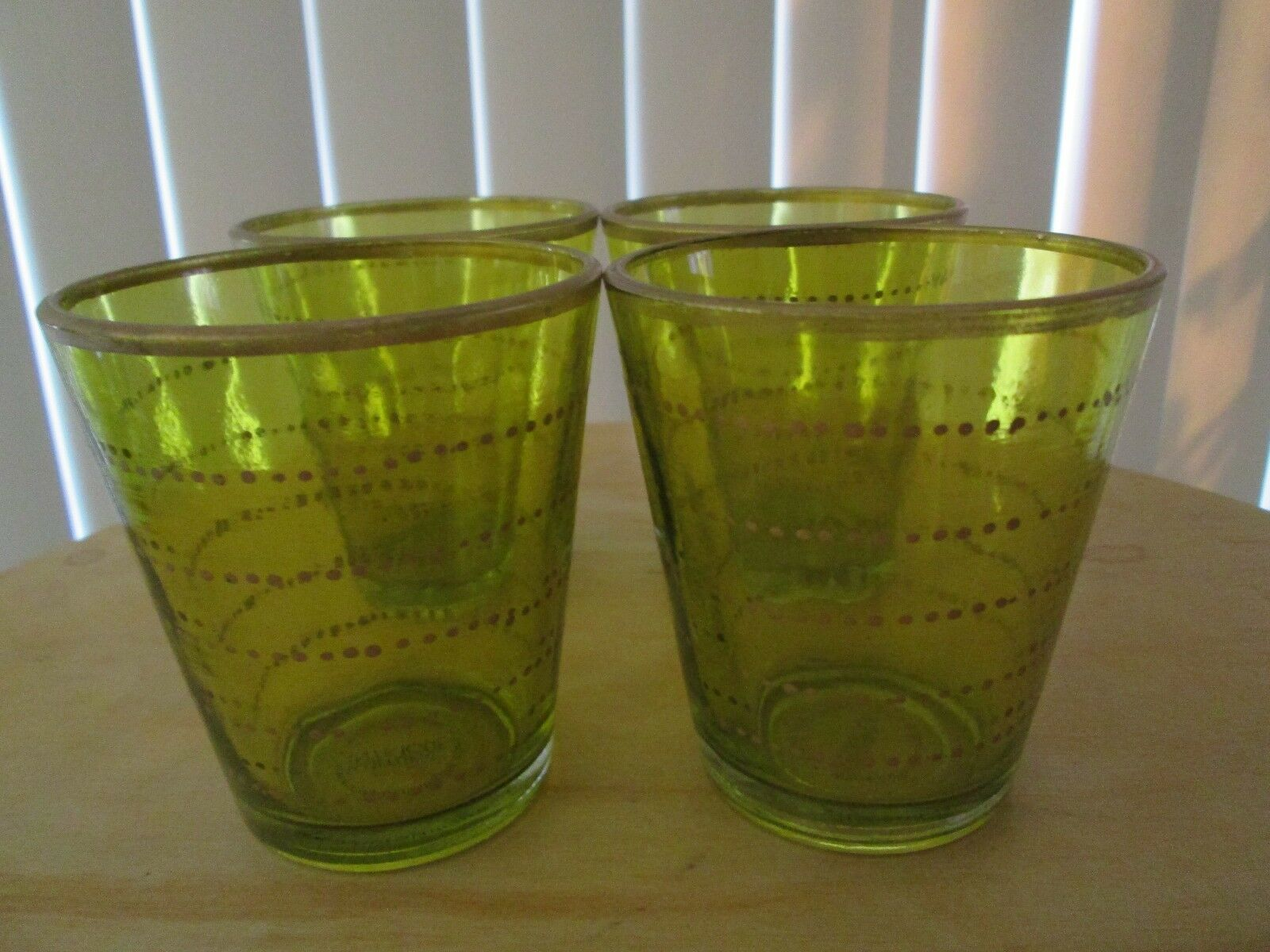 Cultural Intrigue Green With gold Accents Tall Glass Candle Holders 3.25  ( 4 )