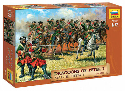 Zvezda 1:72 Soldatini Da Colorare Dragoons Of Peter I 1701-1721 Art 8072