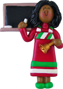 Teacher-Red-Dress-Female-African-American-Personalized-Christmas-Tree-Ornament