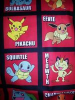 Pokemon Blocks On Red Fabric - Sold By The Yard