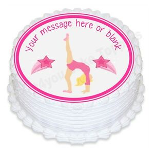 f7772f5c0d2f Image is loading Cartoon-Gymnastics-gymnastics-ND2-personalised-round-cake- topper-