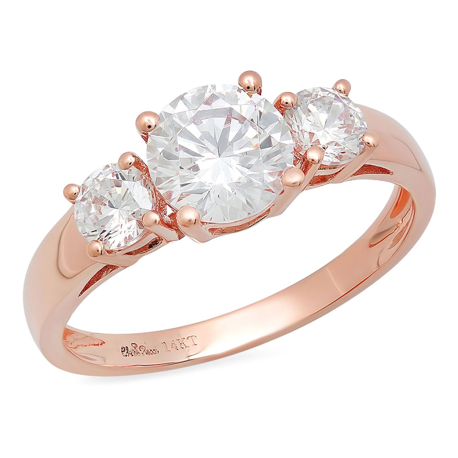 1.5ct Round Cut 3-Stone Engagement Wedding Bridal Promise Ring 14k pink gold