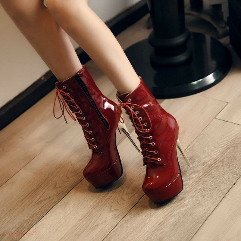 Sexy Platform Zip Women Shiny Stiletto Super High Heel Lace Up Ankle Boots shoes