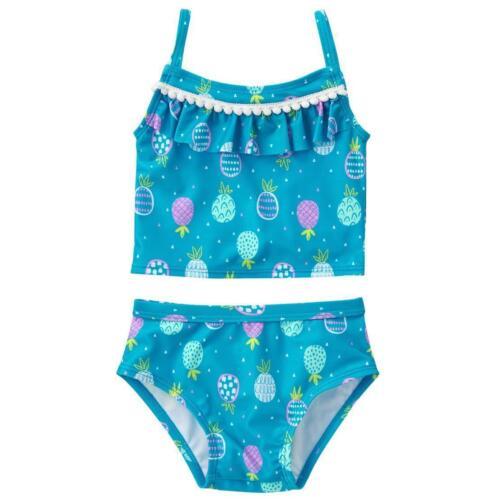 Gymboree 2T 3T tankini magenta sea or aqua blue pineapples 2 piece UPF 50 NWT