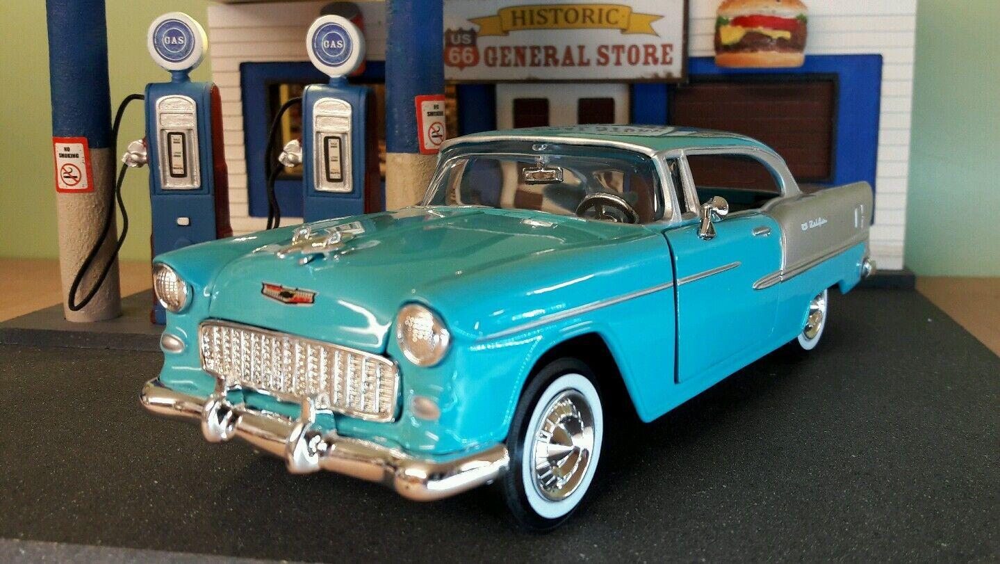 1 24 Escala G LBB 1955 Chevy Chevrolet Bel Aire Techo R FRAR5533;65533; gido Motormax Coche