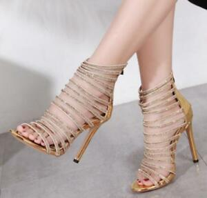 Women Shoes Bohemian Sandals High Gold Heels Gladiator N0wonv8m WHE29DI