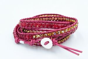 Sterling-Silver-Red-Quartz-Crystal-Red-Sand-Stone-amp-Leather-Multi-Wrap-Bracelet