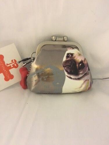 Brand New Fuzzy Nation Pug Dog Coin Purse