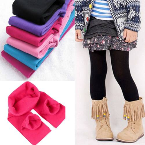 SOFT Kids Girls Winter Warm Fleece Leggings Stretchy Skinny Trousers Pants HOT
