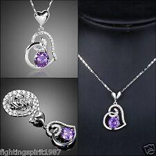 Herz Halskette Silber Lila Kristall Swarovski Element + Etui Original Design 062