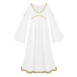 63a2f0a9d5b4 Details about Kids Roman Girls Toga Ancient Greek Goddess Fancy Dress  Halloween Costume Outfit
