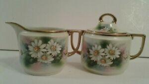 Vintage-Porcelain-Creamer-and-Sugar-Set-Bavaria-Prince-Regent-Daisy-Floral-Gold