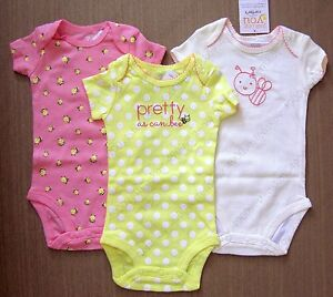 7d713b406 Carter's Just one you baby girl pretty bee Pink Yellow bodysuit one ...