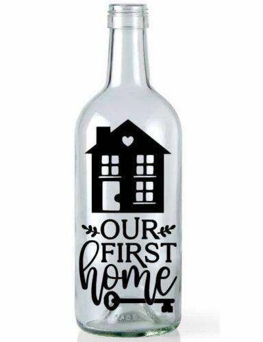 Wine Bottle Vinyl Decal Sticker Our First Home Decor Light Garden Plaques Jar