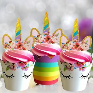 Unicorn Cupcake Toppers Wrappers Rainbow Birthday Party Cake