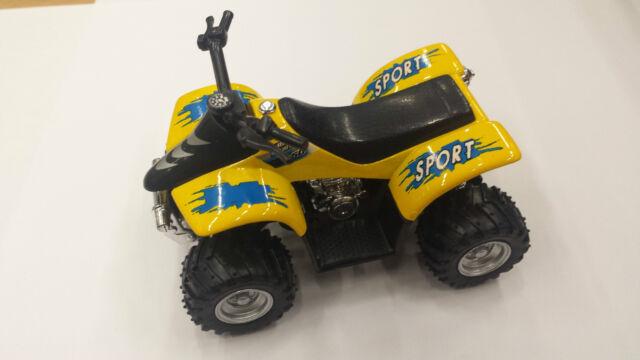 "3.5/"" Kinsfun Smart ATV Four-Wheeler Diecast Model Toy Car Off Road Quad Yellow"