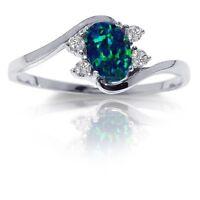 Oval Australian Dark Blue Fire Opal Yin Yang Sapphire Cz Sterling Silver Ring