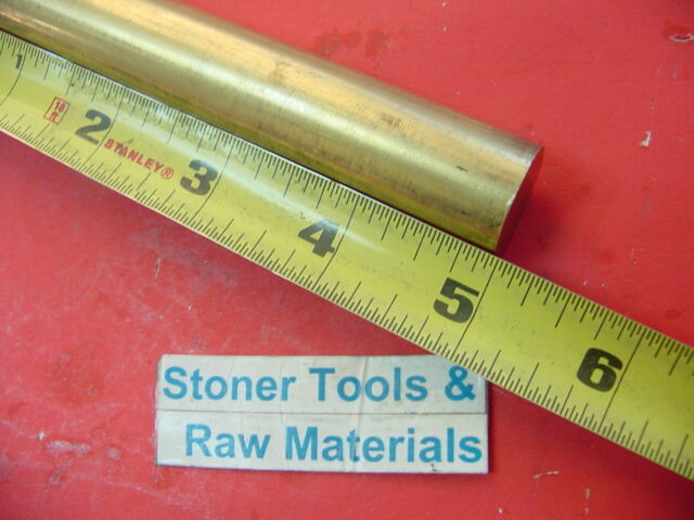 "C360 brass 1/"" round rod stock 2 pc 2/"" long lathe machinist tool new solid bar"