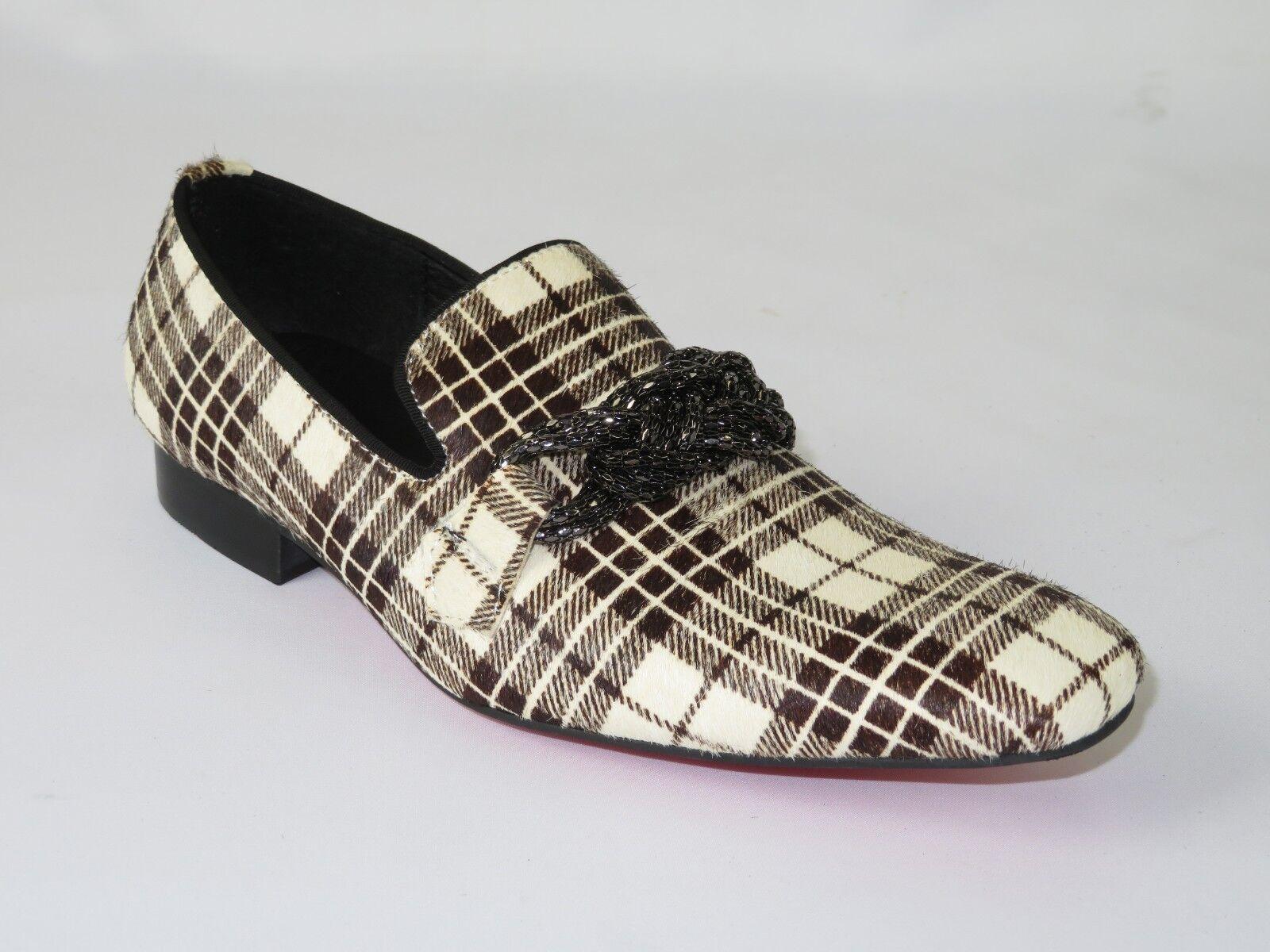 fornire un prodotto di qualità Mens scarpe Fiesso By Aurelio Garcia Pony Pony Pony hair English Plaid Slip on Fi7291 Marrone  prezzi bassi di tutti i giorni