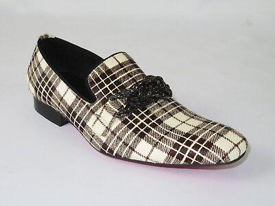 Mens Shoes Fiesso By Aurelio Garcia Pony hair English Plaid Slip on Fi7291 Red