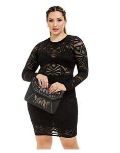 Details about Women\'s Plus Size Roxanne Geo Mesh Bodycon Dress
