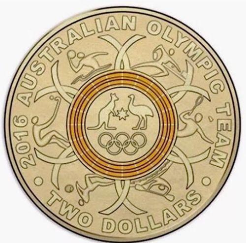 "2016 Olympic $2 Coin Australian Two Dollars /"" Yellow Orange /"""