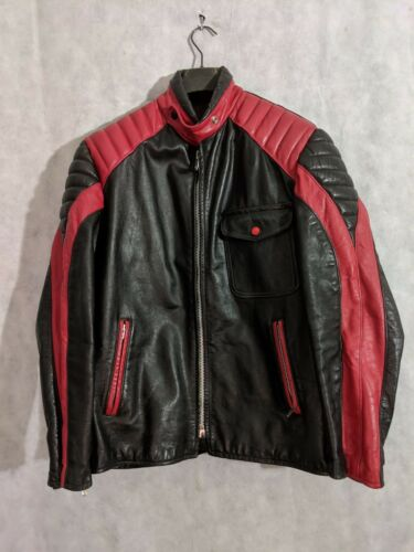 Near Mint! Small Vintage 1960s Black Brimaco Cafe Racer Mod Leather Motorcycle Biker Jacket Acme Zips