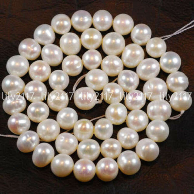 """1 Strand 8-9 Mm White Freshwater Cultured Pearl Loose Beads 15/"""""""