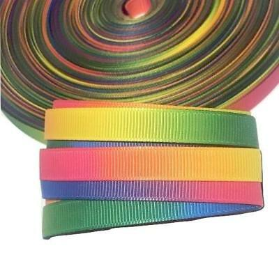 "3 yards White w// metallic rainbow mermaid printed 7//8/"" grosgrain ribbon"