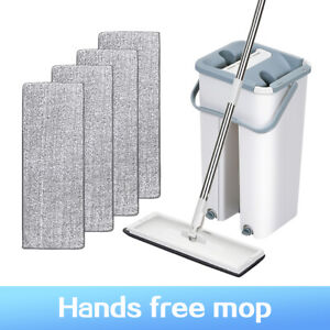 Mop-And-Bucket-Hands-Free-Wash-Wet-Dry-Floor-Cleaning-Flat-Mop-Microfiber-Pads