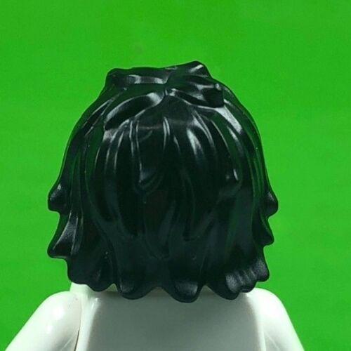 x1 LEGO  BLACK MINIFIGURE HAIR TOUSLED LONG BANGS MINIFIG HAIR PIECE 25378