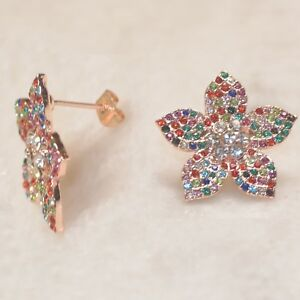 Large-Citrine-Flower-Silver-Stud-Earrings-EAR470005