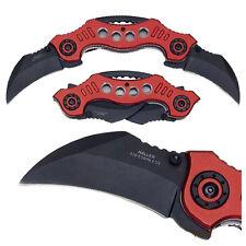 Doppel Taschenmesser Red Claw Karambit Leichtmetal Folder 420er Stahl GürtelClip