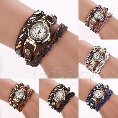 Women's Dial Rivet Faux Leather Sparkling Wave Bracelet Quartz Wrap Wrist Watch