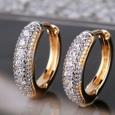 FASHION 18 k yellow gold filled  clear topaz gems hoop earrings new G326