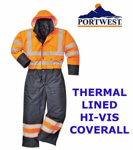 Thermal Waterproof Suit Lined Winter Hi Vis Coverall All