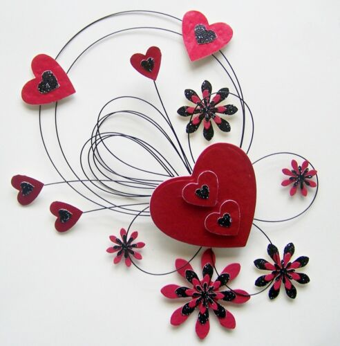 MULTI LIST 6 COLOURS 3D HEARTS,FLOWERS /& WIRE DESIGN CARD CRAFT TOPPER GEN-10