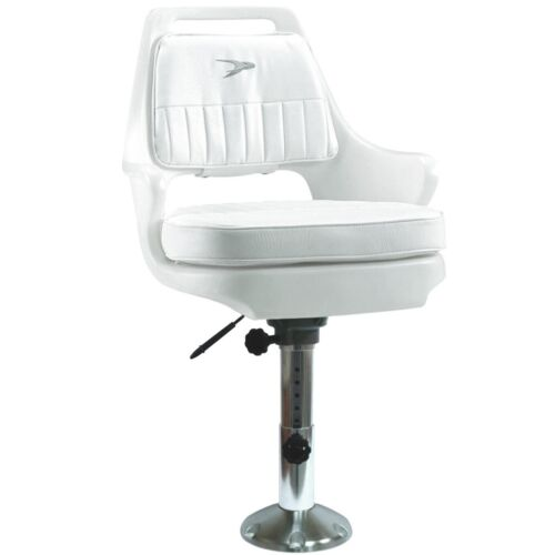 Wise Adjustable White Fishing Boat Captain Pilot Chair w// Cushions /& Seat Slide