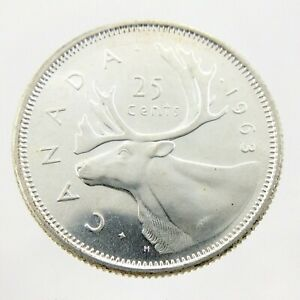 1963-Canada-Twenty-Five-25-Cents-800-Silver-Quarter-Uncirculated-Coin-A248
