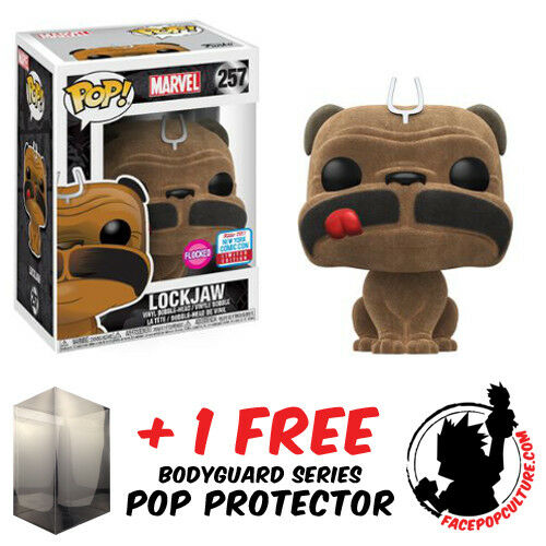FREE POP PROTECTOR FUNKO POP MARVEL LOCKJAW FLOCKED NYCC 2017 EXCLUSIVE