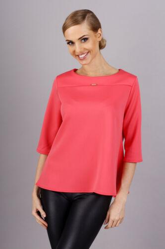 Elegant /& Stylish Women/'s Blouse Top 3//4 Sleeve Crew Neck Sizes 8-16 FA264