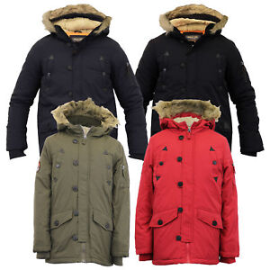 1866cb0cd083 Details about Boys Jacket Parka Coat Brave Soul Kids Padded Sherpa Hooded  Fur Lined Winter New