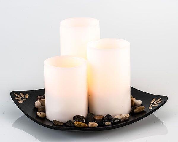 LED Kerzen Set flackerndes Licht Kunststoff Wachs Dekoration Carre Höhe 26 cm Ne