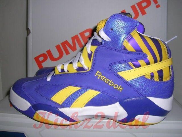 9614a6a836fe NEW REEBOK SHAQ ATTAQ MENS SZ 9.5 LSU Tigers Team Purple Yellow White  Shaqnosis