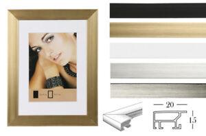 bilderrahmen in 13x18 bis 50x70 gold schwarz silber wei stahl mit passepartout ebay. Black Bedroom Furniture Sets. Home Design Ideas
