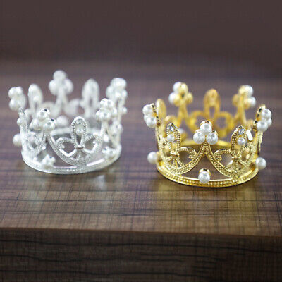 Crown Cake Topper Party Fondant Decor Pearl Wedding Bride Hair Accessory Tiaras