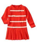 Gymboree Mod About Orange Ribbon Pleated Sweater Dress 12 18 24mo 2t Toddler