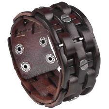 Punk Braided Buckle Belt Men Genuine Cow Leather Bracelet Wristband Cuff Bangle