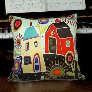 House-Barn-VELVET-PILLOW-COVER-FOLK-ART-Abstract-Primitive-Artist-KARLA-GERARD